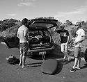 Chad Jackson, Dave Winchester and Joe Clark during the Box Pro in Margaret River, Western Australia