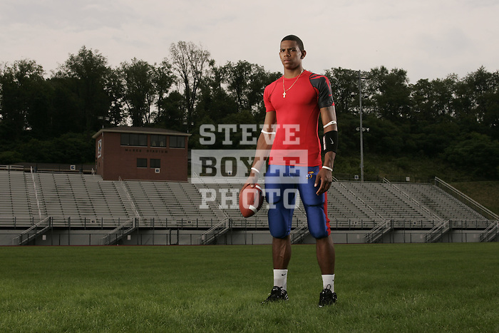 Jeannette High School football player Terrelle Pryor on June 25, 2007 in Jeannette, Pennsylvania.  Pryor plays quarterback and is currently undecided about where he will attend college.  He is considered to be the best high school football player in the nation in the class of 2008 and is also recognized on the nation level in basketball.