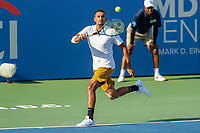 Washington, DC - August 4, 2019:  Nick Kyrgios (AUS) returns the ball during the Citi Open ATP Singles final at William H.G. FitzGerald Tennis Center in Washington, DC  August 4, 2019.  (Photo by Elliott Brown/Media Images International)