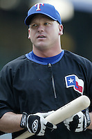 Todd Greene of the Texas Rangers before a 2002 MLB season game against the Los Angeles Angels at Angel Stadium, in Los Angeles, California. (Larry Goren/Four Seam Images)