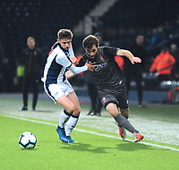 Lincoln City U18's Elliott Sartorius battles with West Bromwich Albion U18's Taylor Gardner-Hickman<br /> <br /> Photographer Andrew Vaughan/CameraSport<br /> <br /> FA Youth Cup Round Three - West Bromwich Albion U18 v Lincoln City U18 - Tuesday 11th December 2018 - The Hawthorns - West Bromwich<br />  <br /> World Copyright &copy; 2018 CameraSport. All rights reserved. 43 Linden Ave. Countesthorpe. Leicester. England. LE8 5PG - Tel: +44 (0) 116 277 4147 - admin@camerasport.com - www.camerasport.com