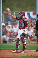 Boston College Eagles catcher Jake Goodreau (32) signals two out during a game against the Minnesota Golden Gophers on February 23, 2018 at North Charlotte Regional Park in Port Charlotte, Florida.  Minnesota defeated Boston College 14-1.  (Mike Janes/Four Seam Images)