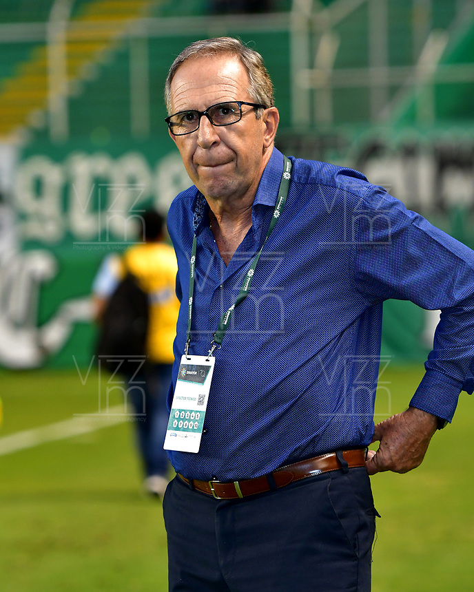 PALMIRA - COLOMBIA, 06-10-2018: Gerardo Pelusso, técnico de Deportivo Cali, durante partido de la fecha 13 entre Deportivo Cali y Patriotas F. C., por la Liga Aguila II 2018, jugado en el estadio Deportivo Cali (Palmaseca) de la ciudad de Cali. / Gerardo Pelusso, coach of Deportivo Cali, during a match of the date 13th between Deportivo Cali and Patriotas F. C., for the Liga Aguila II 2018 at the Deportivo Cali (Palmaseca) stadium in Cali city. Photo: VizzorImage  / Nelson Ríos / Cont.
