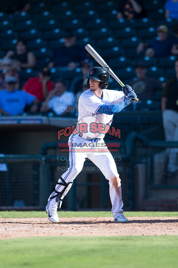 Surprise Saguaros right fielder Cavan Biggio (26), of the Toronto Blue Jays organization, at bat during an Arizona Fall League game against the Salt River Rafters on October 9, 2018 at Surprise Stadium in Surprise, Arizona. Salt River defeated Surprise 10-8. (Zachary Lucy/Four Seam Images)