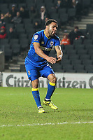 Andy Barcham of AFC Wimbledon shows his frustration after his shot is saved during the Sky Bet League 1 match between MK Dons and AFC Wimbledon at stadium:mk, Milton Keynes, England on 13 January 2018. Photo by David Horn.