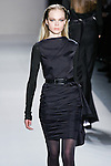 Siri Tollerød walks the runway in a Nicole Miller Fall 2011 outfit, during Mercedes-Benz Fashion Week.