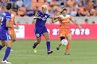 Houston, TX - Friday May 20, 2016: Orlando Pride midfielder Lianne Sanderson (10) and Houston Dash midfielder Morgan Brian (6) during a regular season National Women's Soccer League (NWSL) match at BBVA Compass Stadium.