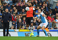Luton Town's Izzy Brown under pressure from Blackburn Rovers' Lewis Travis<br /> <br /> Photographer Kevin Barnes/CameraSport<br /> <br /> The EFL Sky Bet Championship - Blackburn Rovers v Luton Town - Saturday 28th September 2019 - Ewood Park - Blackburn<br /> <br /> World Copyright © 2019 CameraSport. All rights reserved. 43 Linden Ave. Countesthorpe. Leicester. England. LE8 5PG - Tel: +44 (0) 116 277 4147 - admin@camerasport.com - www.camerasport.com