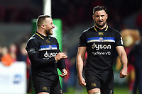 Max Lahiff and Elliott Stooke of Bath Rugby after the match. Heineken Champions Cup match, between Stade Toulousain and Bath Rugby on January 20, 2019 at the Stade Ernest Wallon in Toulouse, France. Photo by: Patrick Khachfe / Onside Images