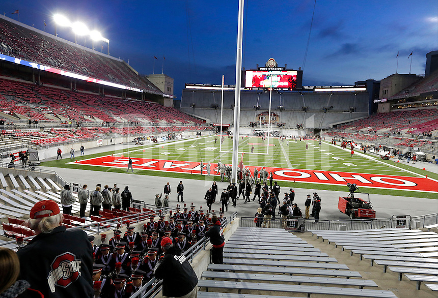 The Ohio State University Marching Band exits Ohio Stadium to perform at the Skull session before Saturday's NCAA Division I football game against the Minnesota Golden Gophers at Ohio Stadium in Columbus on November 7, 2015. (Dispatch Photo by Barbara J. Perenic)