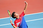 Hayato Funemizu (JPN), <br /> AUGUST 27, 2018 - Soft Tennis : <br /> Training session<br /> at Jakabaring Sport Center Tennis Courts <br /> during the 2018 Jakarta Palembang Asian Games <br /> in Palembang, Indonesia. <br /> (Photo by Yohei Osada/AFLO SPORT)
