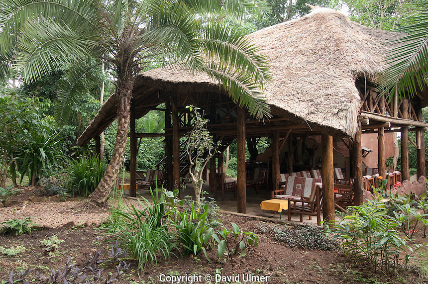 Open air restaurant and lounge at the Kibale Forest Camp, Uganda