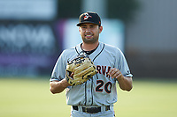 Delmarva Shorebirds center fielder Nick Horvath (20) warms up in the outfield prior to the game against the Kannapolis Intimidators at Kannapolis Intimidators Stadium on June 4, 2019 in Kannapolis, North Carolina. The Intimidators defeated the Shorebirds 9-0. (Brian Westerholt/Four Seam Images)