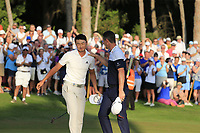 Justin Rose (ENG) commiserates with Haotong Li (CHN) after winning the playoff hole and the tournament and also moves back to No.1 in the world at the end of Sunday's Final Round of the 2018 Turkish Airlines Open hosted by Regnum Carya Golf &amp; Spa Resort, Antalya, Turkey. 4th November 2018.<br /> Picture: Eoin Clarke | Golffile<br /> <br /> <br /> All photos usage must carry mandatory copyright credit (&copy; Golffile | Eoin Clarke)
