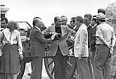 "United States President Jimmy Carter, right, President Anwar Sadat of Egypt, center, and Prime Minister Menachem Begin of Israel, left, chat as they tour the U.S. Civil War battlefield in Gettysburg, Pennsylvania during a break in the Camp David Summit on September 10, 1978 .Credit: Benjamin E. ""Gene"" Forte - CNP"