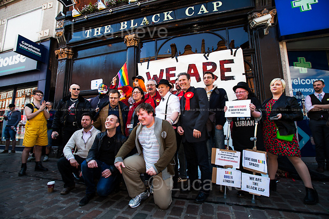 London, 18/04/2015. Today, a protest was held against the closure of the historic &quot;The Black Cap&quot; pub in Camden.<br />