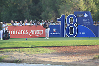 Lee Westwood (ENG) on the 18th tee during the final round of the DP World Tour Championship, Jumeirah Golf Estates, Dubai, United Arab Emirates. 18/11/2018<br /> Picture: Golffile | Fran Caffrey<br /> <br /> <br /> All photo usage must carry mandatory copyright credit (© Golffile | Fran Caffrey)