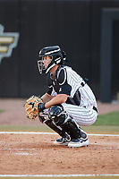 UCF Knights catcher Ben McCabe (40) during a game against the Siena Saints on February 17, 2019 at John Euliano Park in Orlando, Florida.  UCF defeated Siena 7-1.  (Mike Janes/Four Seam Images)