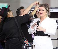 October 11, 2018  Kelly Clarkson at Today Show Michelle Obama announces the Obama Foundation's Global Girls Alliance to Support Adolescent Girls Education Around the World on International Day of the Girl   at Rockefeller Center Plaza in New York October 11, 2018 Credit:RW/MediaPunch