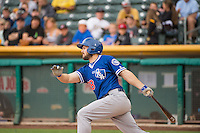Chris Heisey (28) of the Oklahoma City Dodgers at bat against the Salt Lake Bees in Pacific Coast League action at Smith's Ballpark on May 25, 2015 in Salt Lake City, Utah.  (Stephen Smith/Four Seam Images)