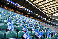 A general view of Bath Rugby flags in the seats. The Clash, Aviva Premiership match, between Bath Rugby and Leicester Tigers on April 8, 2017 at Twickenham Stadium in London, England. Photo by: Patrick Khachfe / Onside Images