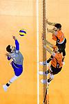 06.05.2018, Max Schmeling Halle, Berlin<br />Volleyball, Bundesliga MŠnner / Maenner, Play-offs, Finale 4. Spiel, Berlin Recycling Volleys vs. VfB Friedrichshafen<br /><br />Angriff Athanasios Protopsaltis (#7 Friedrichshafen) - Block / Doppelblock Aleksandar Okolic (#1 Berlin), Adam White (#11 Berlin)<br /><br />  Foto &copy; nordphoto / Kurth
