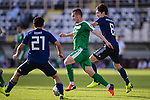 Saparov Mekan of Turkmenistan (C) fights for the ball with Haraguchi Genki of Japan (R) during the AFC Asian Cup UAE 2019 Group F match between Japan (JPN) and Turkmenistan (TKM) at Al Nahyan Stadium on 09 January 2019 in Abu Dhabi, United Arab Emirates. Photo by Marcio Rodrigo Machado / Power Sport Images