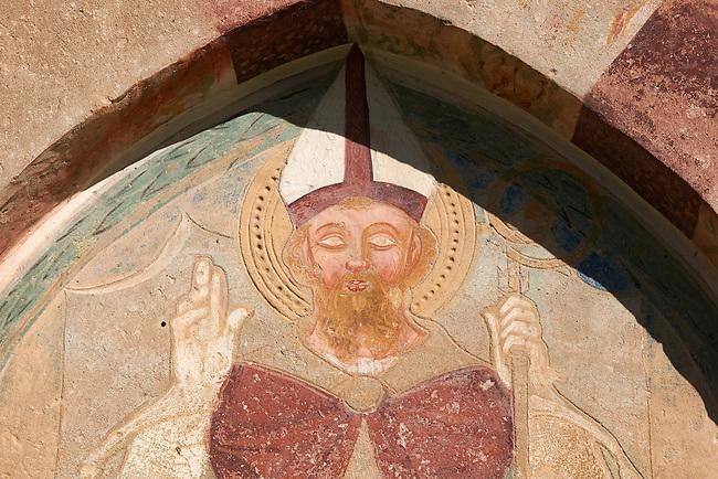 Fresco of San Vigilio on the church of San Vigilio in Pinzolo, Trentino, Italy