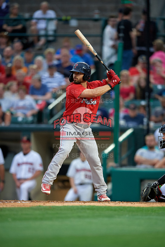 Pawtucket Red Sox Chad De La Guerra (23) bats during an International League game against the Rochester Red Wings on June 28, 2019 at Frontier Field in Rochester, New York.  Pawtucket defeated Rochester 8-5.  (Mike Janes/Four Seam Images)