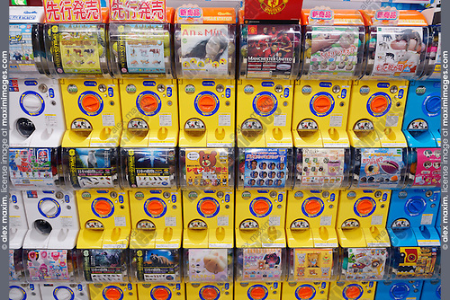 Capsule station, slot machines with action figures anime characters in Tokyo, Japan