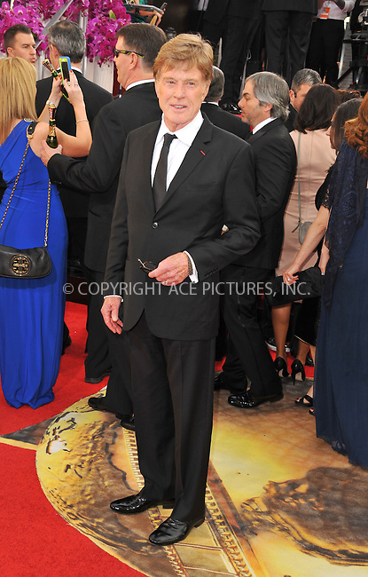 WWW.ACEPIXS.COM<br /> <br /> January 12 2014, LA<br /> <br /> Robert Redford arriving at the 71st Annual Golden Globe Awards held at The Beverly Hilton Hotel on January 12, 2014 in Beverly Hills, California<br /> <br /> By Line: Peter West/ACE Pictures<br /> <br /> <br /> ACE Pictures, Inc.<br /> tel: 646 769 0430<br /> Email: info@acepixs.com<br /> www.acepixs.com