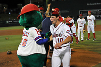 Greenville Drive players, including Brendan Nail (10) and mascot Reedy Rip'It, celebrate their 2017 South Atlantic League Championship following an 8-3 win over the Kannapolis Intimidators in Game 4 of the Championship Series on Friday, September 15, 2017, at Fluor Field at the West End in Greenville, South Carolina. It was Greenville's first SAL Championship. Greenville won the series 3-1. (Tom Priddy/Four Seam Images)