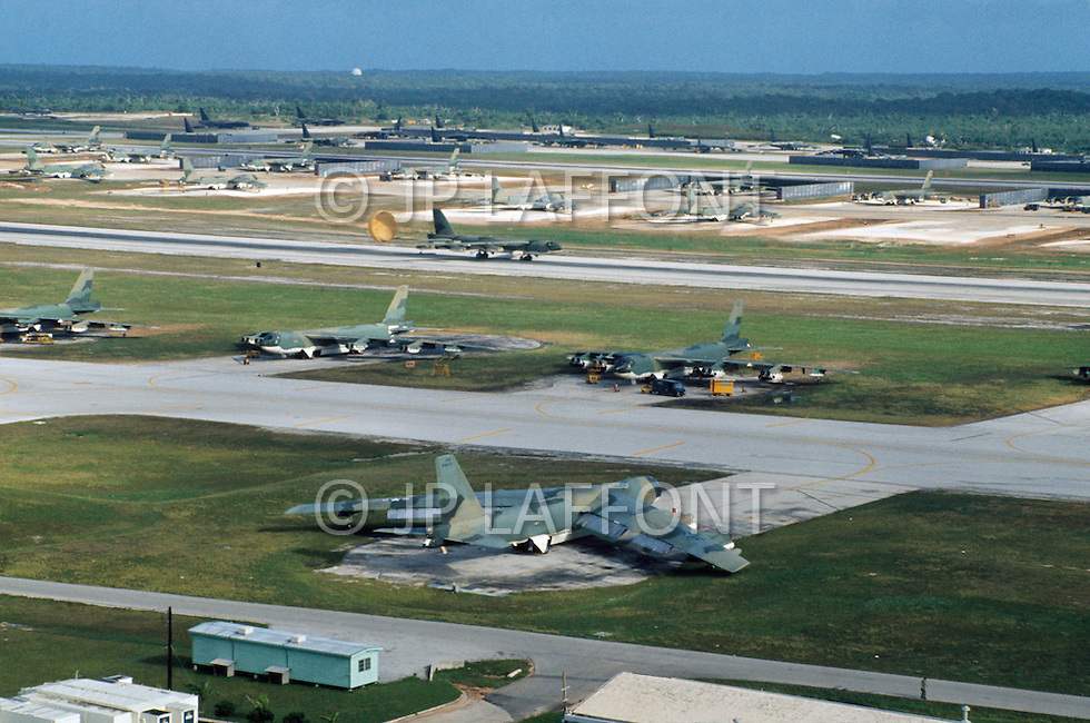 June 1972, Guam --- The Andersen Air Force Base on Guam Island from where the B-52 Stratofortress planes take off for Vietnam. --- Image by © JP Laffont