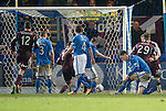 St Johnstone v Hearts.....18.01.14   SPFL<br /> Sam Nicholson (No 28) scores to make it 3-2<br /> Picture by Graeme Hart.<br /> Copyright Perthshire Picture Agency<br /> Tel: 01738 623350  Mobile: 07990 594431