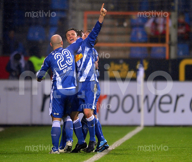 Fussball 1. Bundesliga :  Saison   2009/2010   21. Spieltag  06.02.2010 VfL Bochum - Bayer 04 Leverkusen ,  JUBEL nach dem TOR  zum 1:1 von Zlatko Dedic (Bochum)