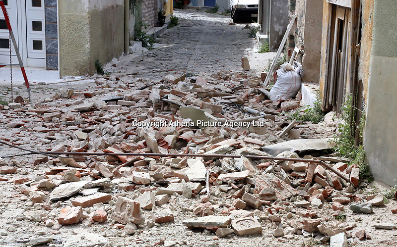 Pictured: Debris covers one of the roads in Plomari, Lesbos, Greece. Monday 12 June 2017<br /> Re: A strong earthquake has rocked the Greek island of Lesbos, injuring 10 people and damaging dozens of homes at the Brit tourist hotspot.<br /> The magnitude 6.2 quake struck off the coast of western Turkey close to the islands of Samos and Lesbos, which are hugely popular with holidaymakers.