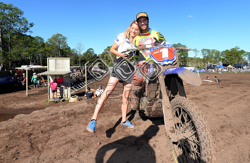 MX2 Series Champion Jay Wilson is congratulated by Misty Walton<br /> 2015 MX Nationals / Round 10 / MX2<br /> Australian Motocross Championships<br /> Coolum Qld 30 August 2015<br /> &copy; Sport the library / Jeff Crow