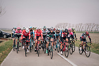 The peloton taking it easy in the infamous Moeren after the breakaway group is allowed to go free<br /> <br /> 81st Gent-Wevelgem in Flanders Fields (1.UWT)<br /> Deinze &gt; Wevelgem (251km)