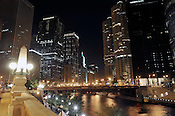Chicago River, Chicago night, Chicago. Ernie Mastroianni photo.