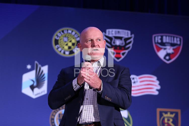 Philadelphia, PA - Thursday January 18, 2018: President and Managing Director, MLS Business Ventures Gary R. Stevenson. The 2018 MLS League Meetings were held at the Philadelphia Marriott Downtown.