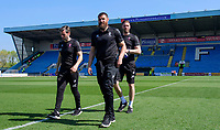 Lincoln City's assistant manager Nicky Cowley, left, Lincoln City's Michael Bostwick, centre, and Lincoln City's first team coach/under 23 manager Jamie McCombe prior to the game<br /> <br /> Photographer Chris Vaughan/CameraSport<br /> <br /> The EFL Sky Bet League Two - Carlisle United v Lincoln City - Friday 19th April 2019 - Brunton Park - Carlisle<br /> <br /> World Copyright © 2019 CameraSport. All rights reserved. 43 Linden Ave. Countesthorpe. Leicester. England. LE8 5PG - Tel: +44 (0) 116 277 4147 - admin@camerasport.com - www.camerasport.com