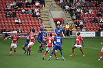 Aldershot Town's Chris Blackburn heads the ball goalward during the League 2 fixture between Crewe Alexandra and Aldershot Town at the Alexandra Stadium. The visitors won by 2 goals to 1.