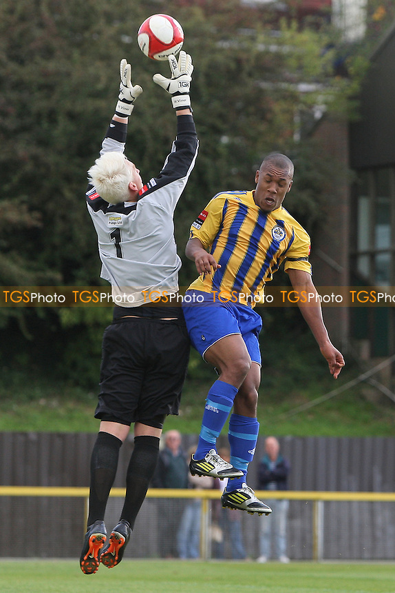Ryan Imbert of Romford challenges Thurrock goalkeeper Will Viner - Romford vs Thurrock - FA Challenge Trophy 1st Round Football at Ship Lane, Thurrock FC - 29/09/12 - MANDATORY CREDIT: Gavin Ellis/TGSPHOTO - Self billing applies where appropriate - 0845 094 6026 - contact@tgsphoto.co.uk - NO UNPAID USE.