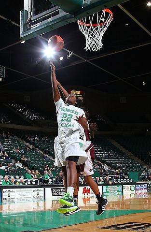 Denton, TX - NOVEMBER 12: BreAnna Dawkins #22 of the University of North Texas Mean Green dirves up for two against Jasmine Baugus #15 of Texas State Bobcats at the Super Pit in Denton on November 12, 2012 in Denton, Texas. (Photo by Rick Yeatts)