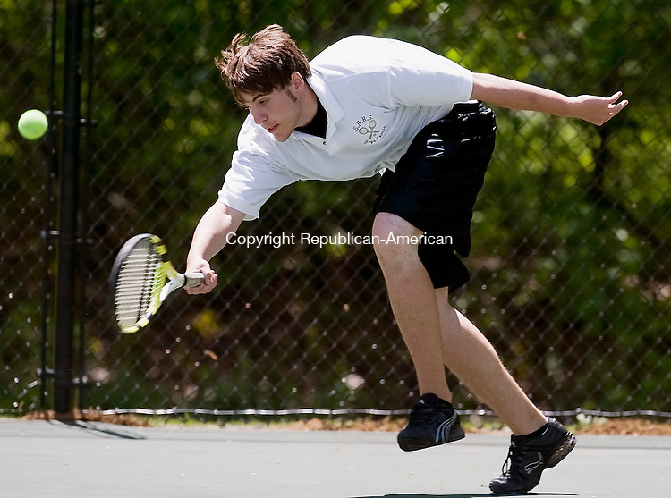 WATERTOWN--23 May 08--052308TJ17 - Sacred Heart's Doug Schreiner can't reach the ball during the NVL boys tennis doubles semifinals against Wolcott, which Wolcott won 6-0 and 6-4, at Crestbrook Park on Friday, May 23, 2008. (T.J. Kirkpatrick/Republican-American)