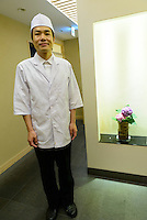 Tomiya Hirota, owner and chef, Hyakuraku Restaurant, Ginza, Tokyo, Japan, July 11, 2014.The Irodori Project is based in the mountain town of Kamikatsu, Tokushima Prefecture. Farmers - many of them elderly - grow leaves and flowers to use to decorate Japanese food in restaurants and hotels across the nation.