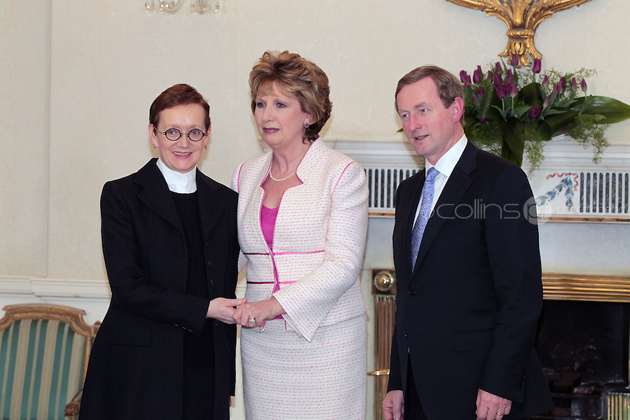 9/3/11 Attorney General Marie Whelan, Senior Counsel with President Mary McAleese and Taoiseach Enda Kenny at Aras An Uachtarain for the appoinment of the Government. Pictures:Arthur Carron/Collins