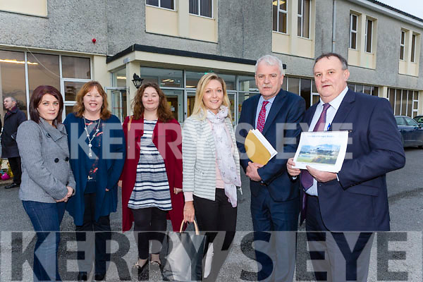 Minister Finian McGrath met with concerned parents during his visit to St Mary of the Angels in Beaufort on Wednesday. Pictured are l-r: Jean O'Sullivan (Kenmare), Anne Hannan (Killarney), Joyce Bambury (Kenmare), Laura Fitzpatrick (Cahersiveen), Minister McGrath and Donie O'Sullivan (Killorglin).
