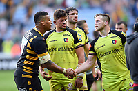 Nathan Hughes of Wasps shakes hands with Brendon O'Connor of Leicester Tigers after the match. Aviva Premiership semi final, between Wasps and Leicester Tigers on May 20, 2017 at the Ricoh Arena in Coventry, England. Photo by: Patrick Khachfe / JMP