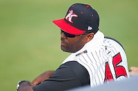 Kannapolis Intimidators manager Ernie Young #45 at Fieldcrest Cannon Stadium August 8, 2010, in Kannapolis, North Carolina.  Photo by Brian Westerholt / Four Seam Images